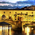 Florence - Ponte Vecchio Sunset From The Oltrarno - Vintage Version by Weston Westmoreland