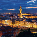 Florence Skyline Night Panorama by Songquan Deng
