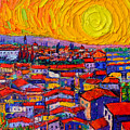 Florence Sunset 10 Modern Impressionist Abstract City Knife Oil Painting Ana Maria Edulescu by Ana Maria Edulescu