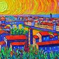Florence Sunset 4 Modern Impressionist Abstract City Impasto Knife Oil Painting Ana Maria Edulescu by Ana Maria Edulescu