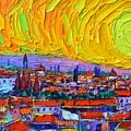 Florence Sunset 5 Modern Impressionist Abstract City Impasto Knife Oil Painting Ana Maria Edulescu by Ana Maria Edulescu