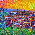 Florence Sunset 7 Modern Impressionist Abstract City Impasto Knife Oil Painting Ana Maria Edulescu by Ana Maria Edulescu