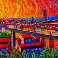 Florence Sunset 9 Modern Impressionist Abstract City Impasto Knife Oil Painting Ana Maria Edulescu by Ana Maria Edulescu