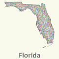 Florida Line Art Map by David Zydd
