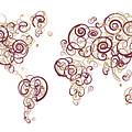 Florida State University Colors Swirl Map Of The World Atlas by Jurq Studio