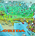 Florida Usa Cartoon Map by Kevin Middleton