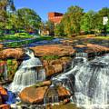 Flow On Reedy River Falls Park Art Greenville South Carolina Art by Reid Callaway