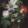 Flower And A Delphinium In A Glass Vase by Theodor Mattenheimer