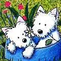 Flower Bed Westies by Kim Niles