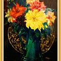 Bouquet For Mrs De Waldt H B With Decorative Ornate Printed Frame. by Gert J Rheeders