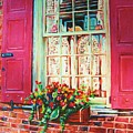 Flower Box  And Pink Shutters by Carole Spandau