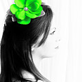Flower Girl Green Selective Colour by Terri Waters