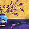 Flowers In Blue Vase by Judy Sanchez Morris