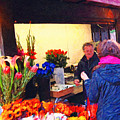 Flower Stand On Stockton And Geary Street . Photoart by Wingsdomain Art and Photography