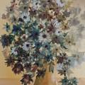 Flower Vase Original Watercolor by David K Myers