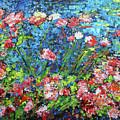 Flowering Shrub In Pink On Bright Blue 201676 by Alyse Radenovic