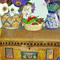 Flowers And Antique Chest by Joseph R Luciano