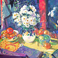 Flowers And Fruit In A Green Bowl by Peter Graham