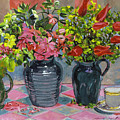 Flowers And Pitchers by David Lloyd Glover