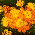 Flowers, Buttons And Ribbons -shades Of Orange/yellow  by Carlene Harris