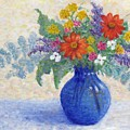 Flowers In A Blue Vase by Jean Ehler