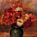Flowers In A Green Vase Dahlilas And Asters by Renoir PierreAuguste