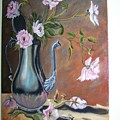 Flowers In A Silver Pot by Charles Vaughn