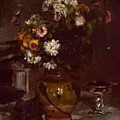 Flowers In A Vase And A Glass Of Champagne by Renoir PierreAuguste
