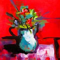 Flowers In Blue Green Pitcher by Barbara O'Toole
