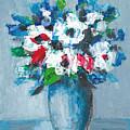 Flowers In Blue Vase by Cuiava Laurentiu