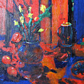Flowers In Blue Vase by Gary Smith