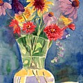 Flowers In Glass Vase by Judy Swerlick