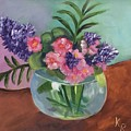 Flowers In Round Glass Vase by Katie Richcreek