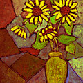 Flowers In Vase Altered by Wayne Potrafka