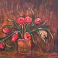 Flowers Of Pink In Vase by Katt Yanda