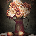 Flowers With Peaches Still Life by Tom Mc Nemar
