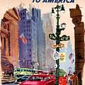 Fly Bcpa To America Vintage Poster Restored by Carsten Reisinger