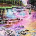 Fly Fishing In River At Sunrise by Anne Koivumaki - Fine Art Anne