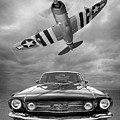 Fly Past - 1966 Mustang With P47 Thunderbolt In Black And White by Gill Billington