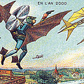 Flying Policemen, 1900s French Postcard by Science Source