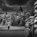 Flying Ravens And Totem Poles In Black And White by Randall Nyhof