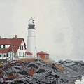 Fog Approaching Portland Head Light by Dominic White