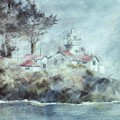 Fog At Batterypoint Lighthouse by Lynne Parker