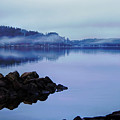 Foggy Dawn Blue And Pink by Stephen Anthony