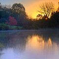 Foggy Fall Sunrise by John Absher