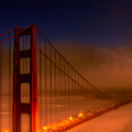 Foggy Golden Gate At Sunset by Tommy Anderson