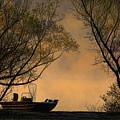 Foggy Morning Fishing Boat by Carolyn Fletcher