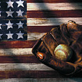 Folk Art American Flag And Baseball Mitt by Garry Gay