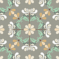 Folk Art Inspired Chrysanthemums In Muted Hues by MM Anderson