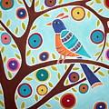 Folk Bird In Tree by Karla Gerard